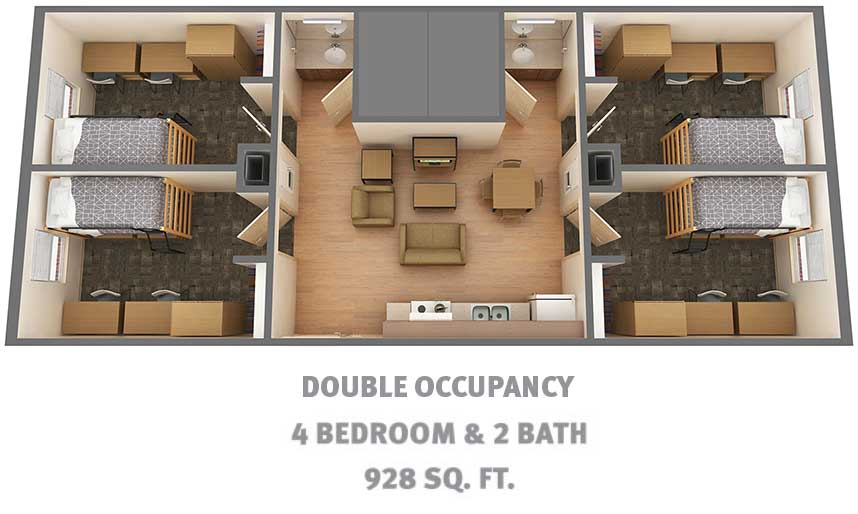 Chaparral 4 bed 2 ba 928 sq ft Double occup